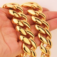 High Quality 21MM 60 CM Super Heavy Thick Mens Flat Curb Cuban Chain Necklaces Tone Stainless