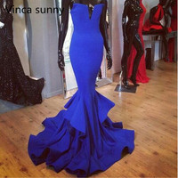 2015 New Arrival Royal Blue Mermaid Evening Dresses Sexy Long Prom Dresses Custom Made Black Red