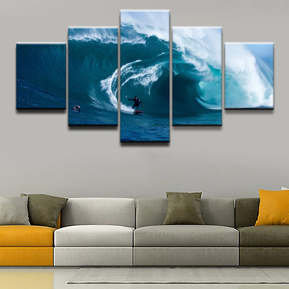 Canvas Painting Living Room Wall Art Poster Framework In Top-Rated Canvas Print 5 Panel Sports Surfing Decoration Pictures