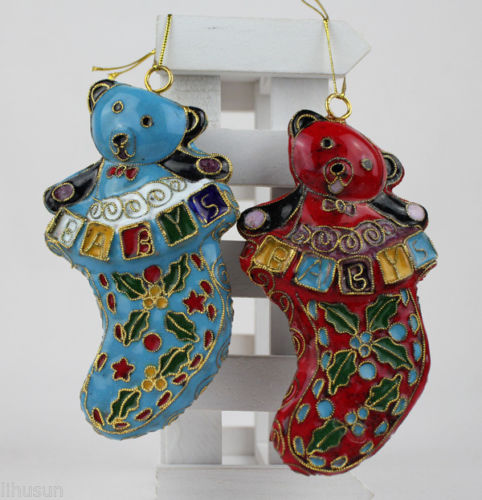 wholesale 10pcs chinese handmade vintage cloisonne enamel bear ornament for christmas or other festival decoration in pendant drop ornaments from home
