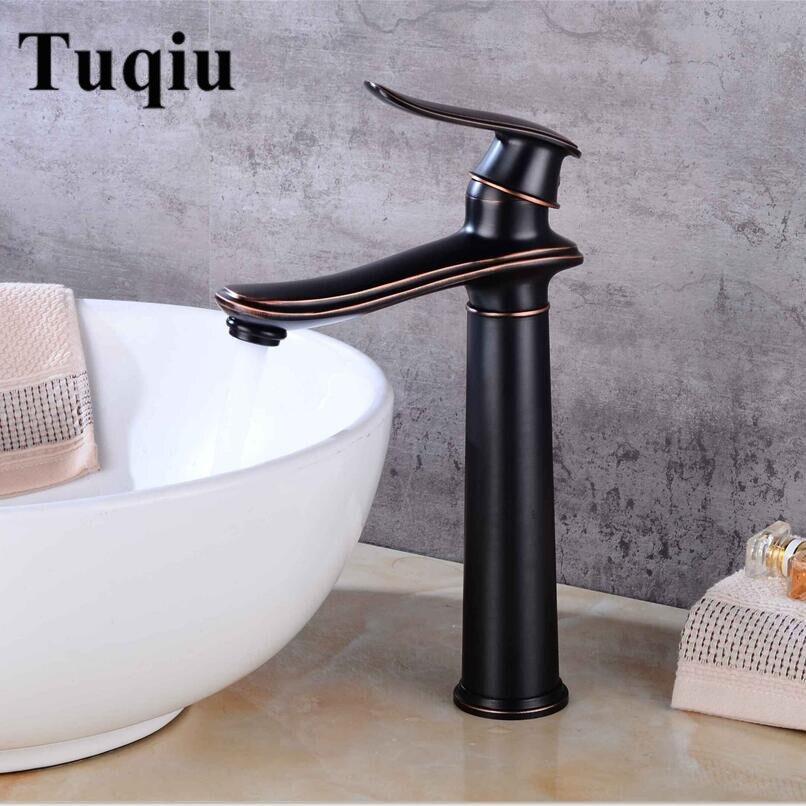 Robinets de bassin noir cuivre salle de bains robinet mélangeur Vintage chaud et froid robinet de lavabo mélangeur évier poignée unique grue