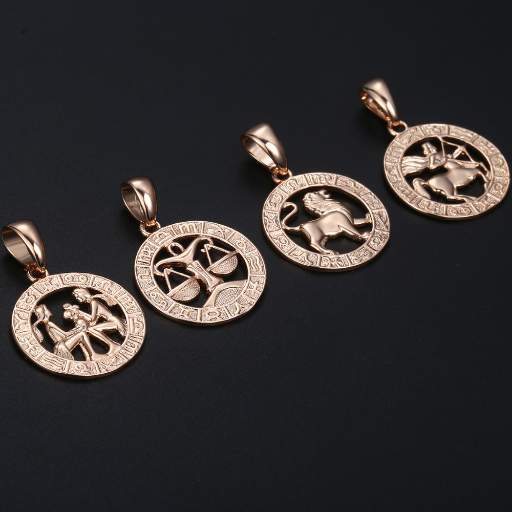 Zodiac Sign Gold Medallion Chain Necklaces 12 Variants
