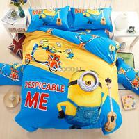 BLUE COLOR 100%cotton cartoon minion Bedding sets for Adult Children Bbed linen with Duvet cover/bed sheets kids Twin queen size