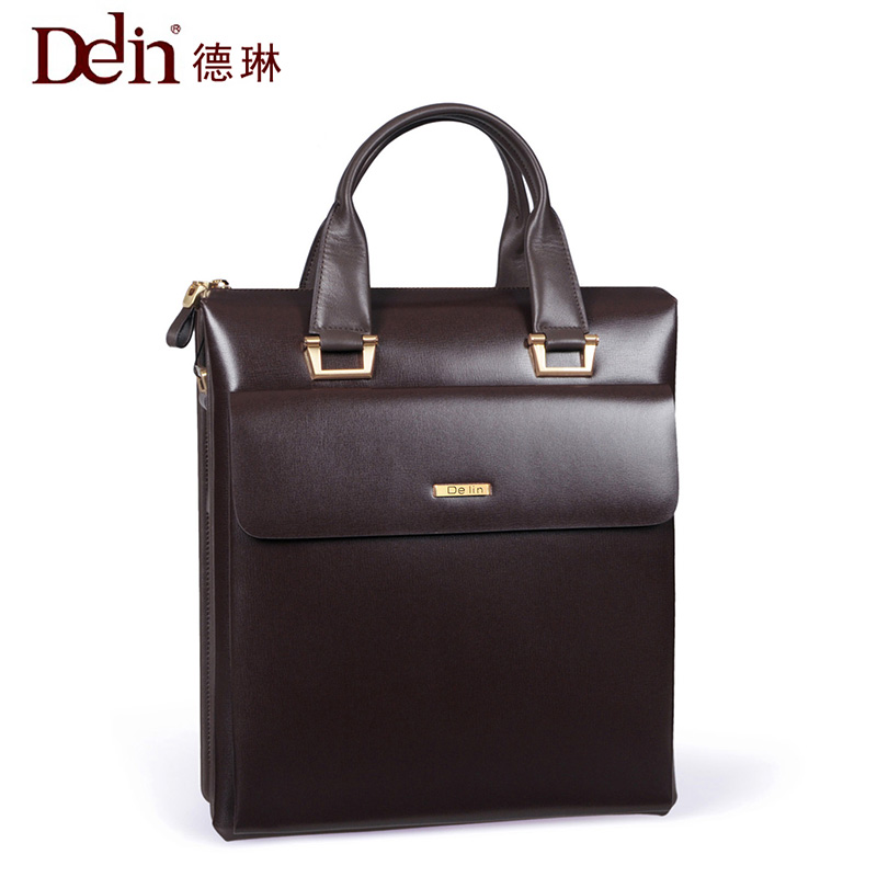 2018 Delin business handbag shoulder briefcase men bag vertical section large capacity leather bag