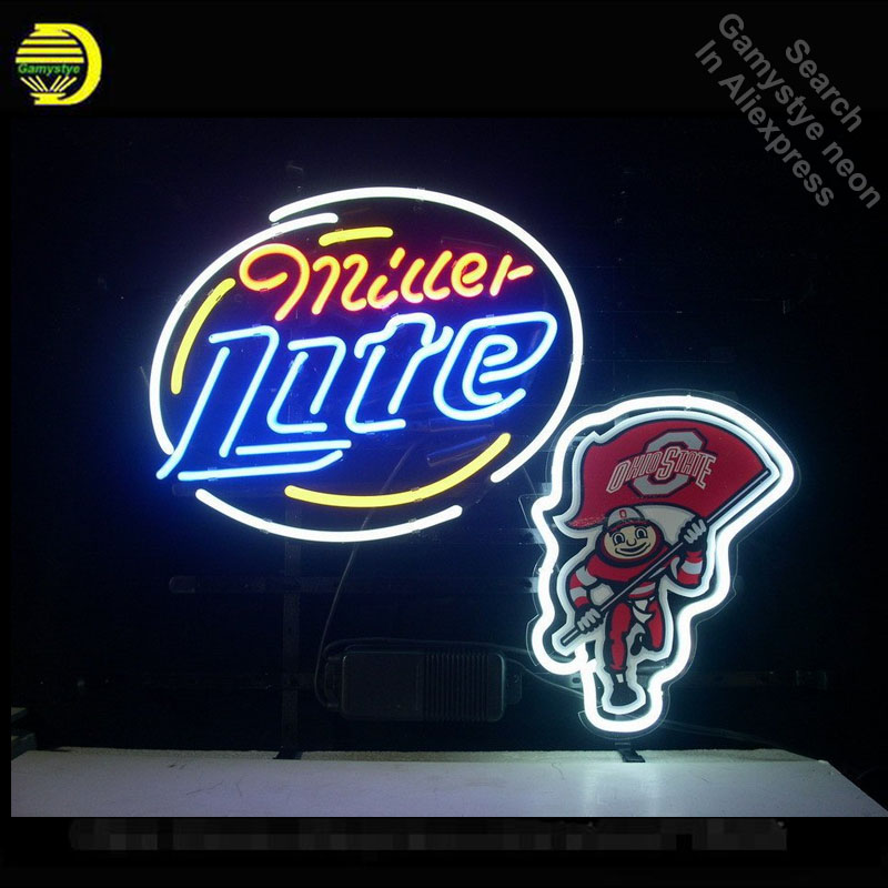 Neon Sign OhiState Buckey Brutus Miller Lite Neon Bulbs Sign Beer Bar Pub Neon Tube Sign paint handcraft Publicidad Sign board