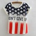 Summer Free USA Flag Letters Floral Print Shirt Loose 3D Short Sleeve T Shirt Women Tee Tops Party Hip Hop Casual T-Shirt