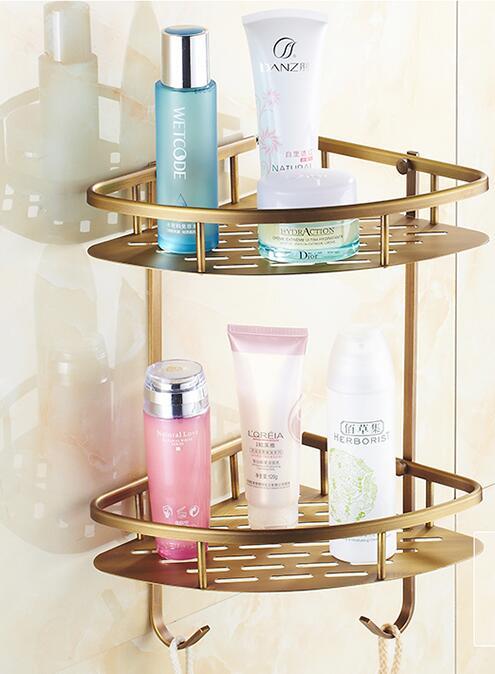1/2 couche cuivre salle de bains produits coin rack, rétro toilette/cuisine étagère, en laiton couche triangle étagère, livraison gratuite