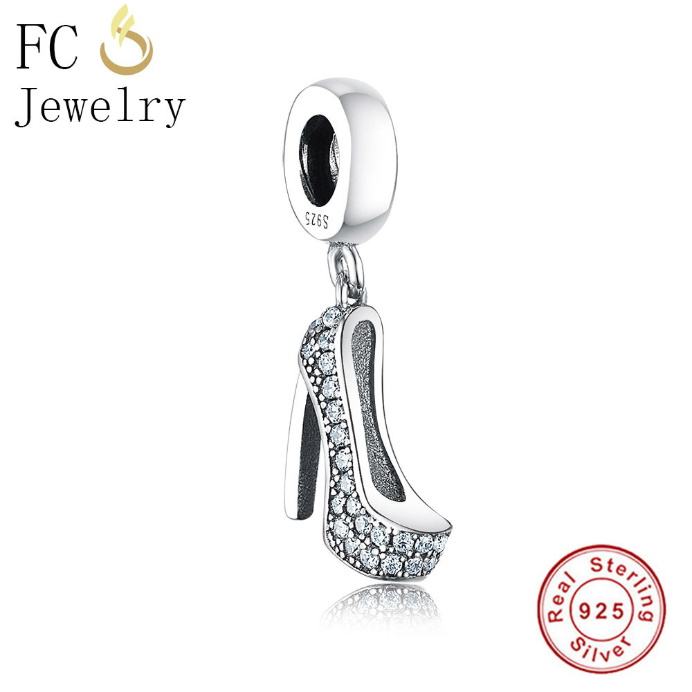 FC Jewelry Fit Original Pandora Charms Bracelet Authentic 925 Silver Shoes High Heel CZ Stone Beads for Making DIY Gift Berloque