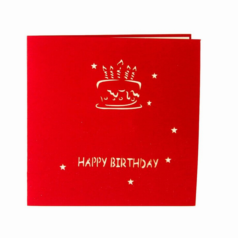 3D Handcrafted Origami Envelope Invitation Card Birthday Cake Candle ...