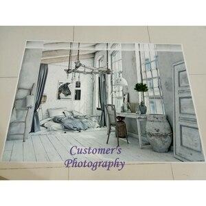 Image 2 - Laeacco cinza velho casa rural móveis decoração de casa do bebê pet retrato interior foto fundos foto pano de fundo para estúdio foto