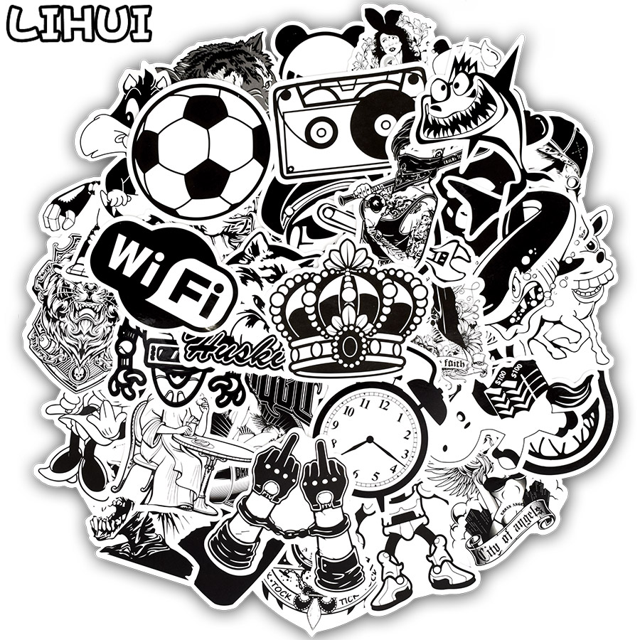 50pcs Black And White Series Sticker Graffiti Rock Funny Waterproof Stickers For DIY Luggage Laptop Guitar Motorcycle Stickers