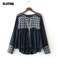 OLGITUM Coat Ethnic Coins Fringed Embroidery Jacket 2019 New Women Tassel Skirt hem Loose Kimono Jacket Coats BS143