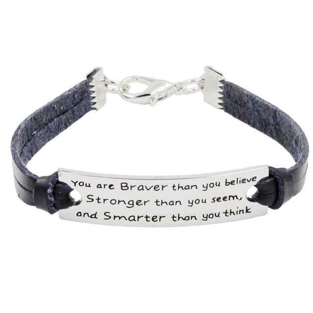 Black Genuine Leather Inspirational Bracelets Quote You Are Braver Than Believe Stronger