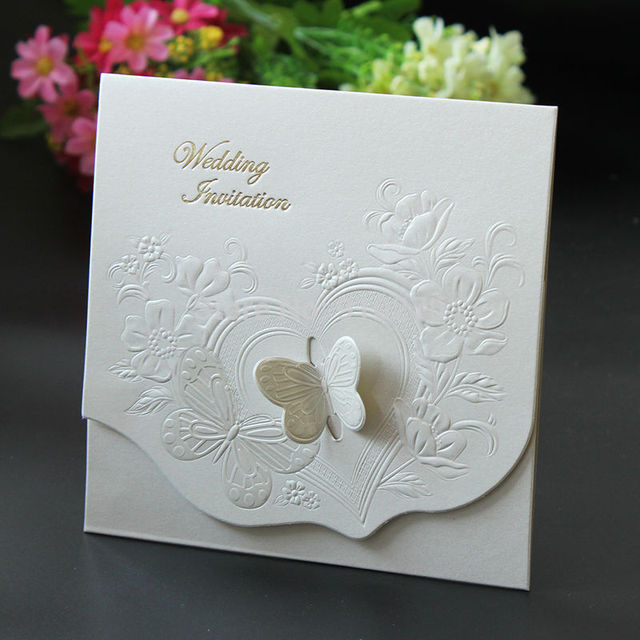200pcs Laser Cut Wedding Invitations Butterfly Flower Wedding