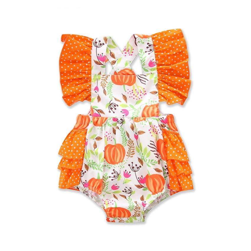 New infant printed halloween pumpkin lace bodysuits baby girls lace cotton clothes kids jumpers princess orange bodysuit 17S907