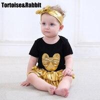 Menina Roupa do bebê 3 pcs Define Vestuário Preto Algodão Orgânico Bodysuit Irritar Bloomers Calções Camada de Ouro Headband Recém-nascidos Roupas