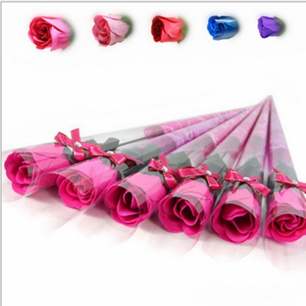 32pcs/lot Simulation Rose Flower Soap Fancy Gift Items Handmade Christmas Wedding or Valentine's Day Gift Colorful Bath Soap