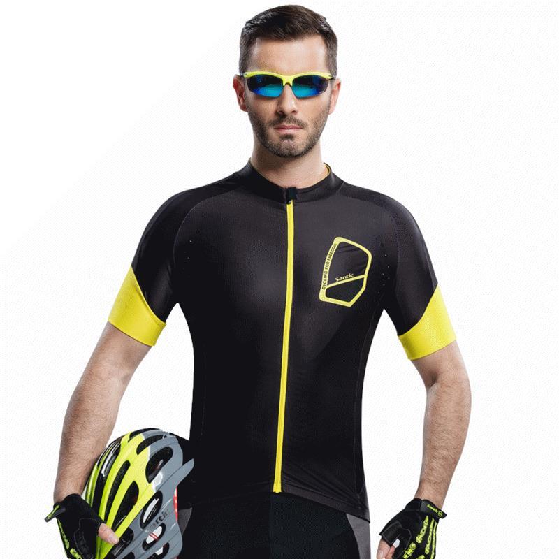 Santic Men Bike Bicycle T Shirts Downhill Slim Fit Quick Dry T-shirts Male Running Cycling Short Sleeve Jerseys UV-proof Jersey