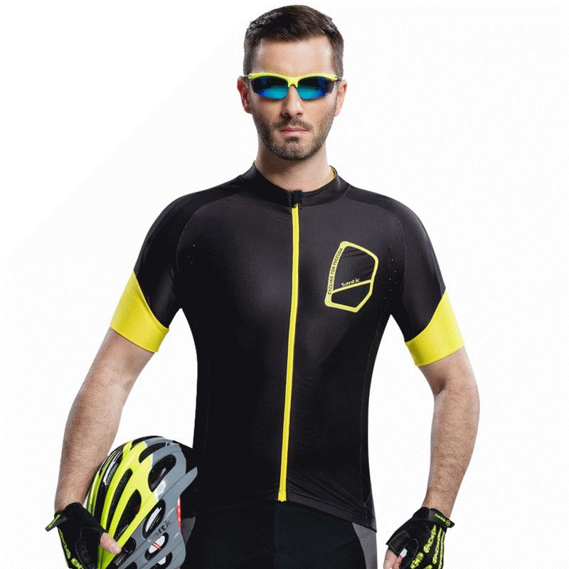 Santic Men Bike Bicycle T Shirts Downhill Slim Fit Quick Dry T-shirts Male Running Cycling Short Sleeve Jerseys UV-proof Jersey