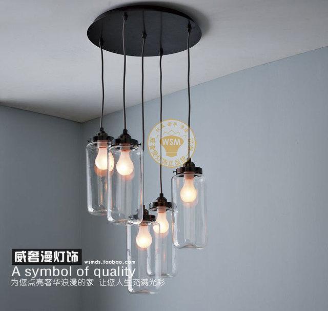 1 Piece Vintage Clear Glass Bottle Pendant Light Hanging Lamp Mason Jar Lamp  Shade Kitchen Dining