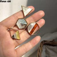 HUANZHI Japan Koreanische Neue Nette Essigsäure Geometrische Dreieck Quadrat Acryl Stich Kleine Stud Ohrringe für Frauen Mädchen Großhandel