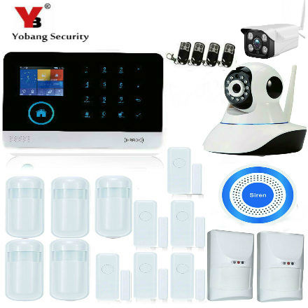 YobangSecurity Android IOS APP Home Security WIFI GSM GPRS Alarm with PET Friendly PIR Motion Sensor Wireless Outdoor IP Camera yobangsecurity gsm wifi gprs wireless home business security alarm system with wireless ip camera smoke fire dual motion sensor