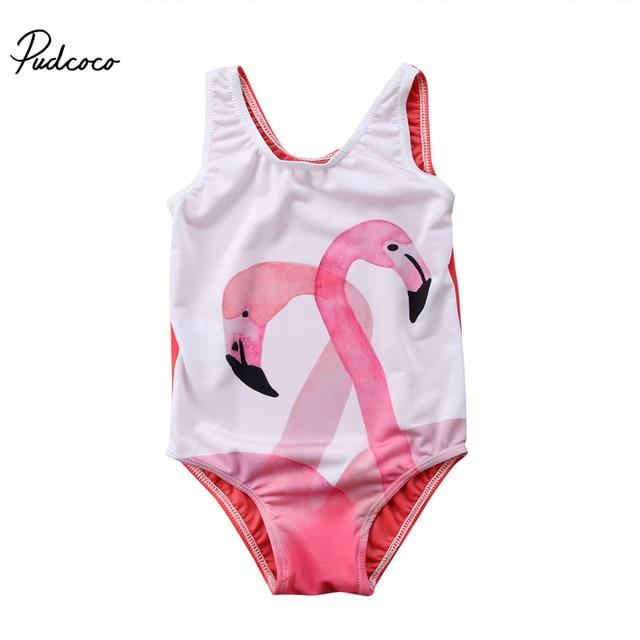 Детский купальник для малышей, красивый костюм для купания для маленьких девочек, цельнокроеное платье с рисунок Фламинго От 1 до 6 лет купальный костюм для девочек, детское платье детский купальный костюм