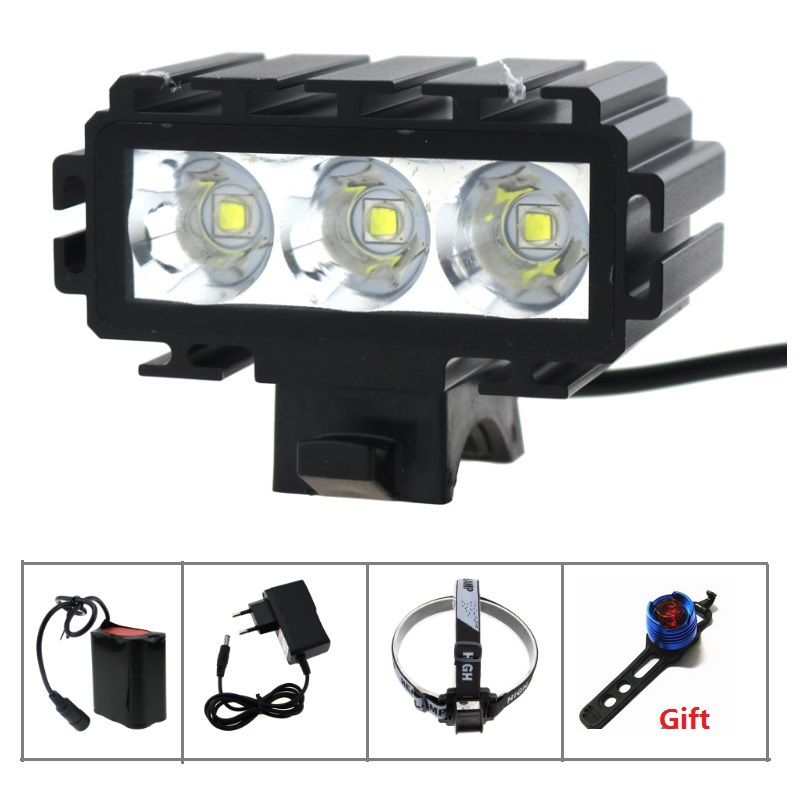цена на 5000 Lumen mountain helmet bike light 3x Cree XM-L2 Bicycle Light With Power Indicator+ 18650 Battery Pack+Charger+Rear Light