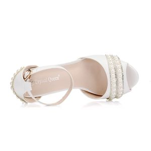Image 2 - Crystal Queen Sexy Women Sandals High Heels Pearl Rhinestone Thin Heel Sandals Woman Flock Open Toe Ankle Strap Party Shoes