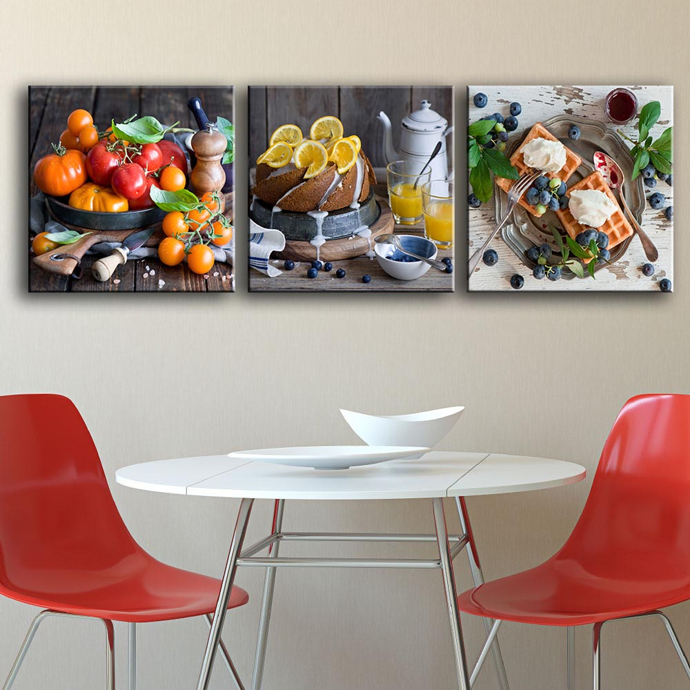 Hdartisan 3 pieces paintings of fruit for kitchen home for Paintings for house decoration
