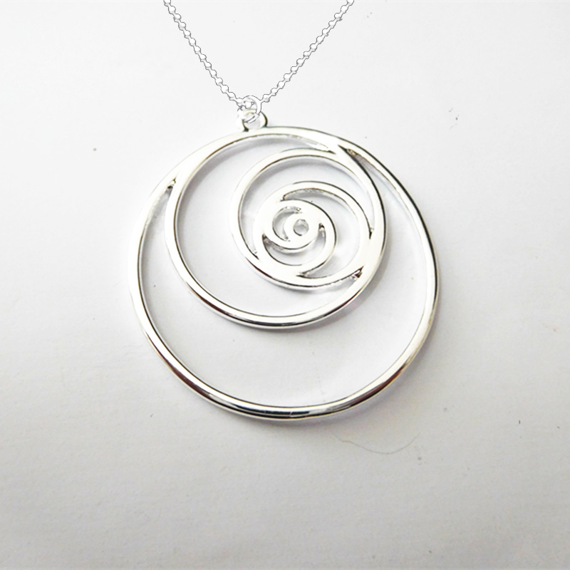 Drop Shipping <font><b>Fibonacci</b></font> <font><b>spiral</b></font> Pendant science necklace Gold and Silver plating High-quality fashion jewelry For Women image