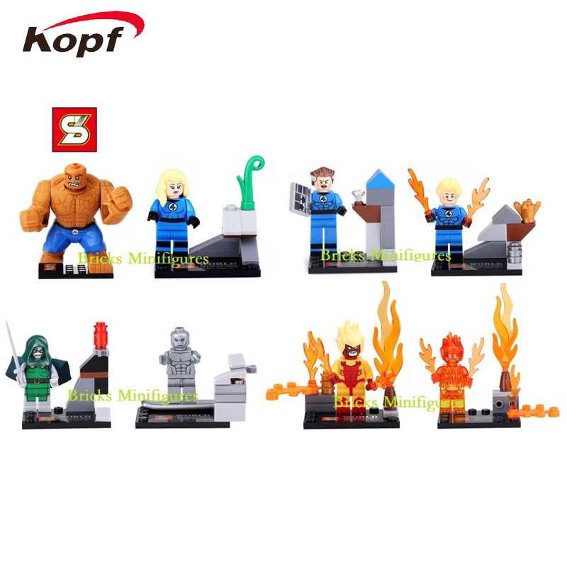 Wholesale 10Lot SY167 Building Blocks Super Heroes Avengers Fantastic Four Human Torch <font><b>Invisible</b></font> <font><b>Woman</b></font> Thing Hot In Sale