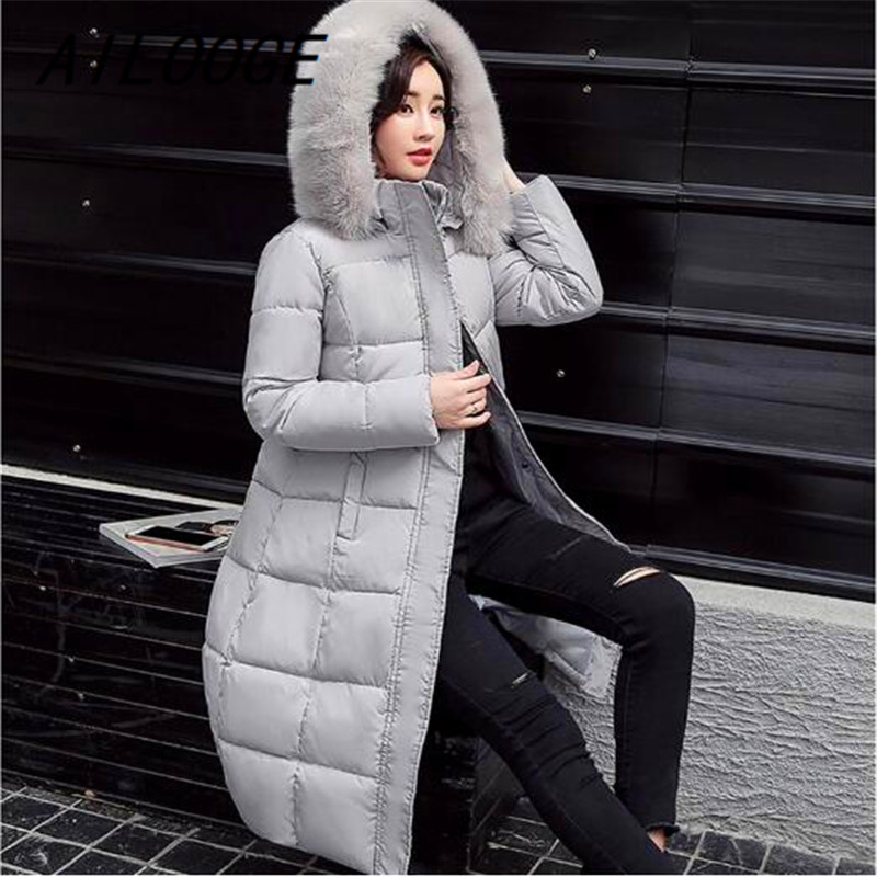 AILOOGE Winter Long   Down     Coat   Big Fur Collar Fashion Female Duck Parkas Jacket Thick Warm Elegant   Down     Coat   Slim Wadded Jacket
