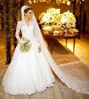 Elegant Long Sleeve Vintage Wedding Dresses Lace Floor Length Vestido De Noiva De Renda V Neck