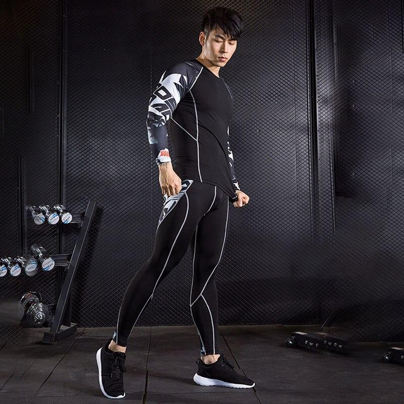 Running Set  Men Workout Clothes Rashgard Male Fitness Compression MMA Shirts Sport Pants Jogging Suits S - 3XL 4XL