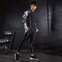 Running Set  Men Workout Clothes Rashgard Male Fitness Compression MMA Shirts Sport Pants Jogging Suits S - 3XL 4XL