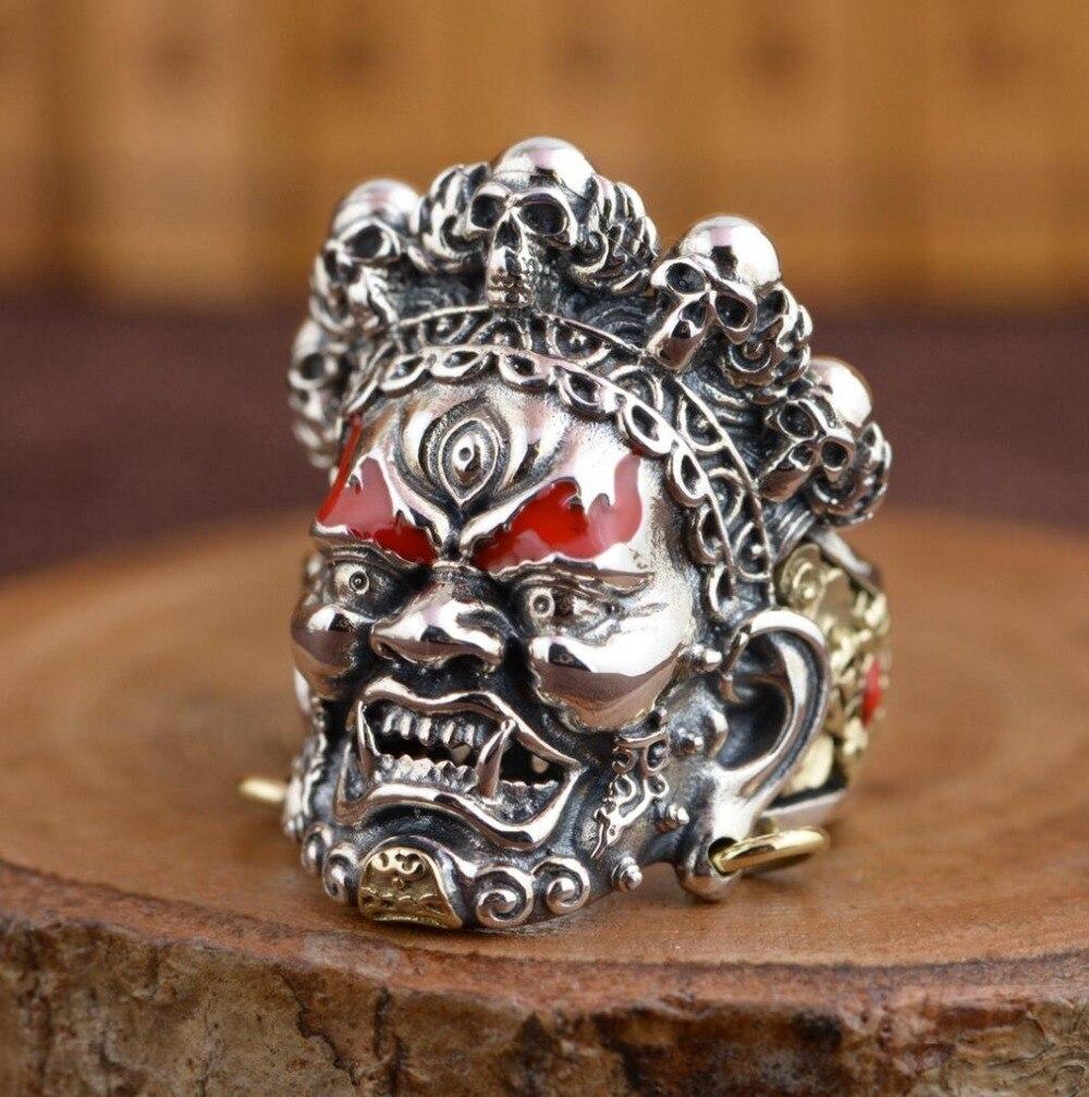 Vente chaude nouveau-livraison gratuite 925 en argent Sterling soldat anniversaire lourd crâne anneau hommes Biker Rock Punk anneau