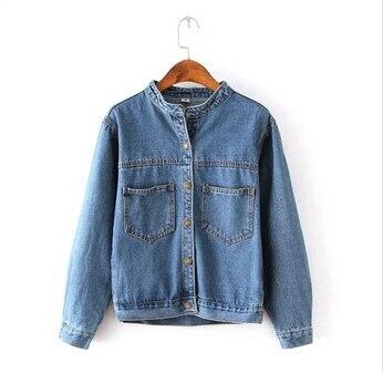 Мода 2016 осень урожая женские джинсы свободная джинсовая куртка женщин короткая джинсовая куртка куртки для женщин