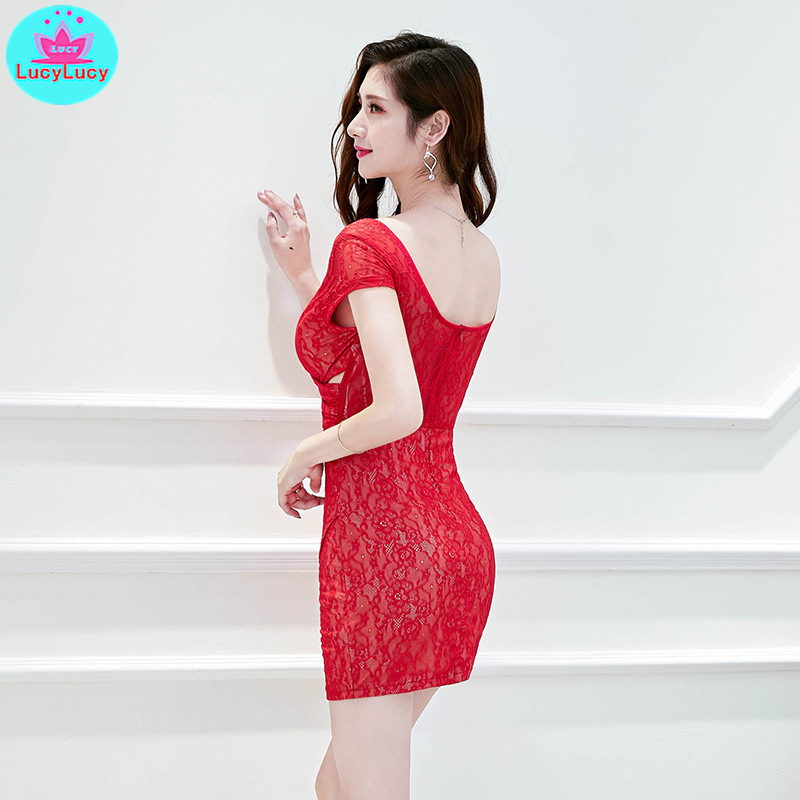 2019 summer new Japanese style sexy lace low chest split bag hip nightclub bar deep v slim female dress in Dresses from Women 39 s Clothing