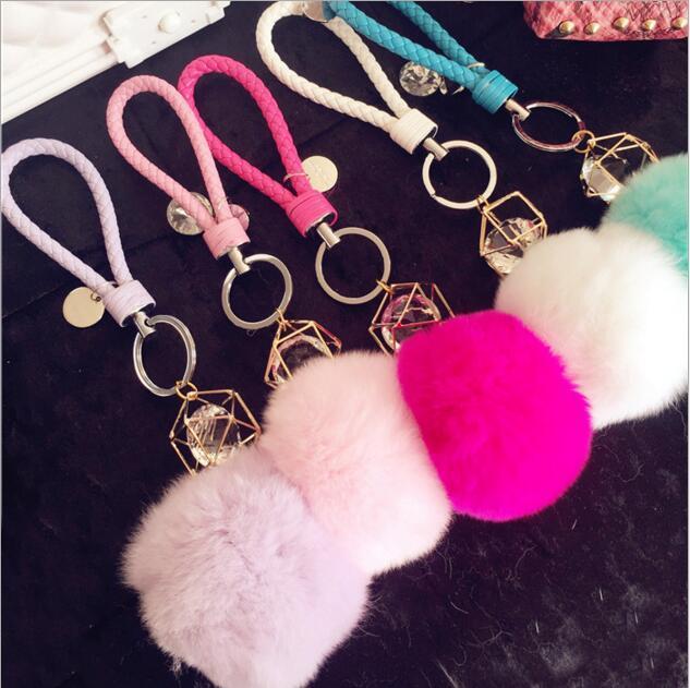 Diy Jewelry Making 3pcs lot Rhinestone Handmade Rabbit Fur Balls PU Lethe  Woven rope decoration Alloy Key Chain Bag Car Pendants 08be471d7d4e4