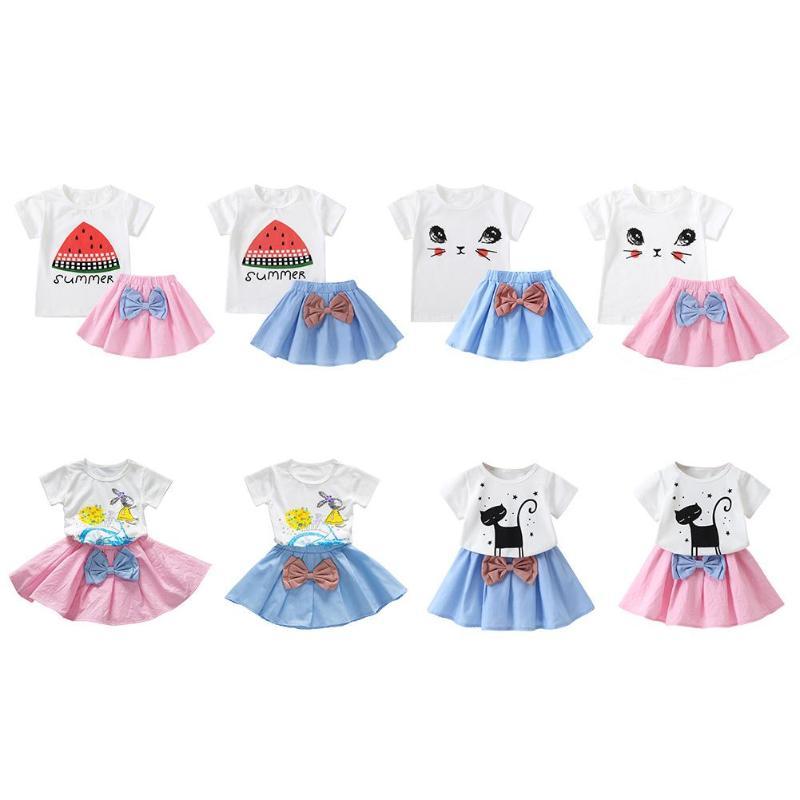 2 Stks Peuter Baby Kinderen Meisje Kleding Set Zomer Mode Kat Print Korte Mouw T-shirt Tops + Lederen Rok Outfit Voor Meisjes Gift Bevordering Van Gezondheid En Genezen Van Ziekten