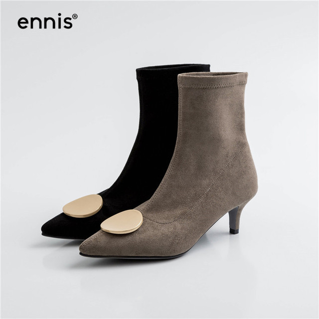 ENNIS 2019 Autumn Winter Women Boots Pointed Shoes Stiletto Boots Black Gray Stretch Boots European Ladies Flock Shoes New A924