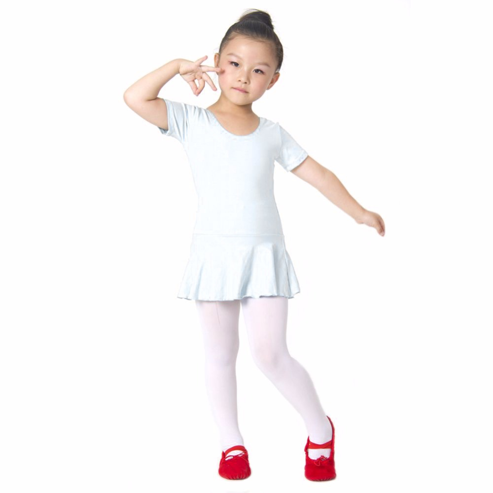 Hot Sale Kid Girls Short Sleeve Leotard Gymnastics Cotton -3563