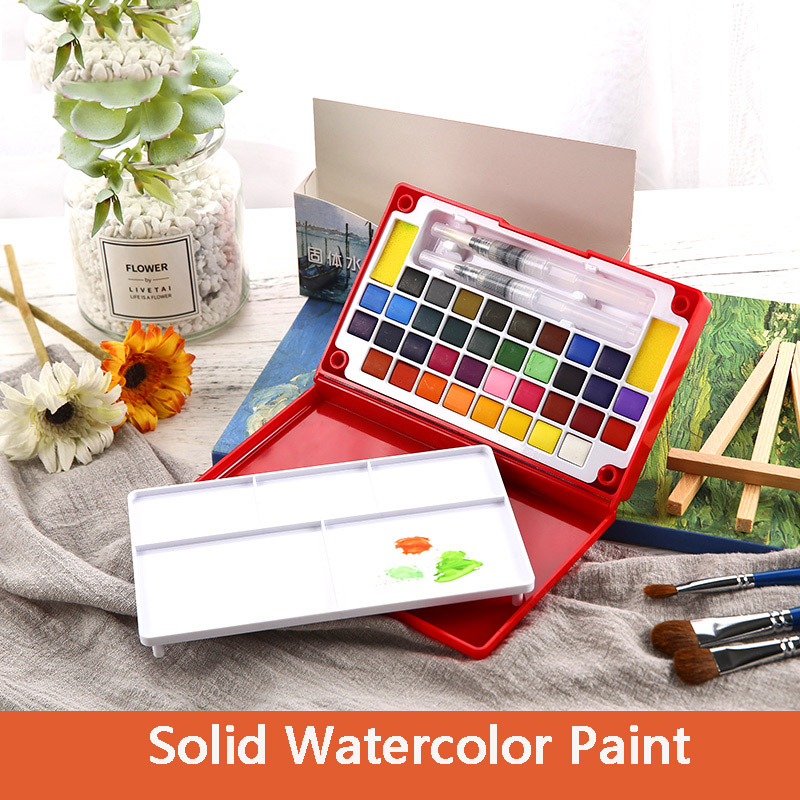 все цены на 36 Colors Solid Watercolor Paint Set High Quality Pigment with Paint Brush Painting Drawing Art Supplies онлайн