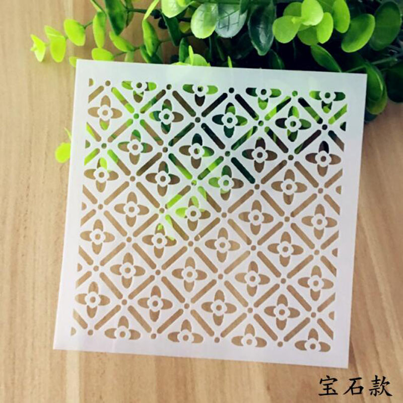 Stencil Reusable Gem Flower Openwork Layering Stencils Wall Painting Scrapbooking Stamping Album Decorative Embossing Template