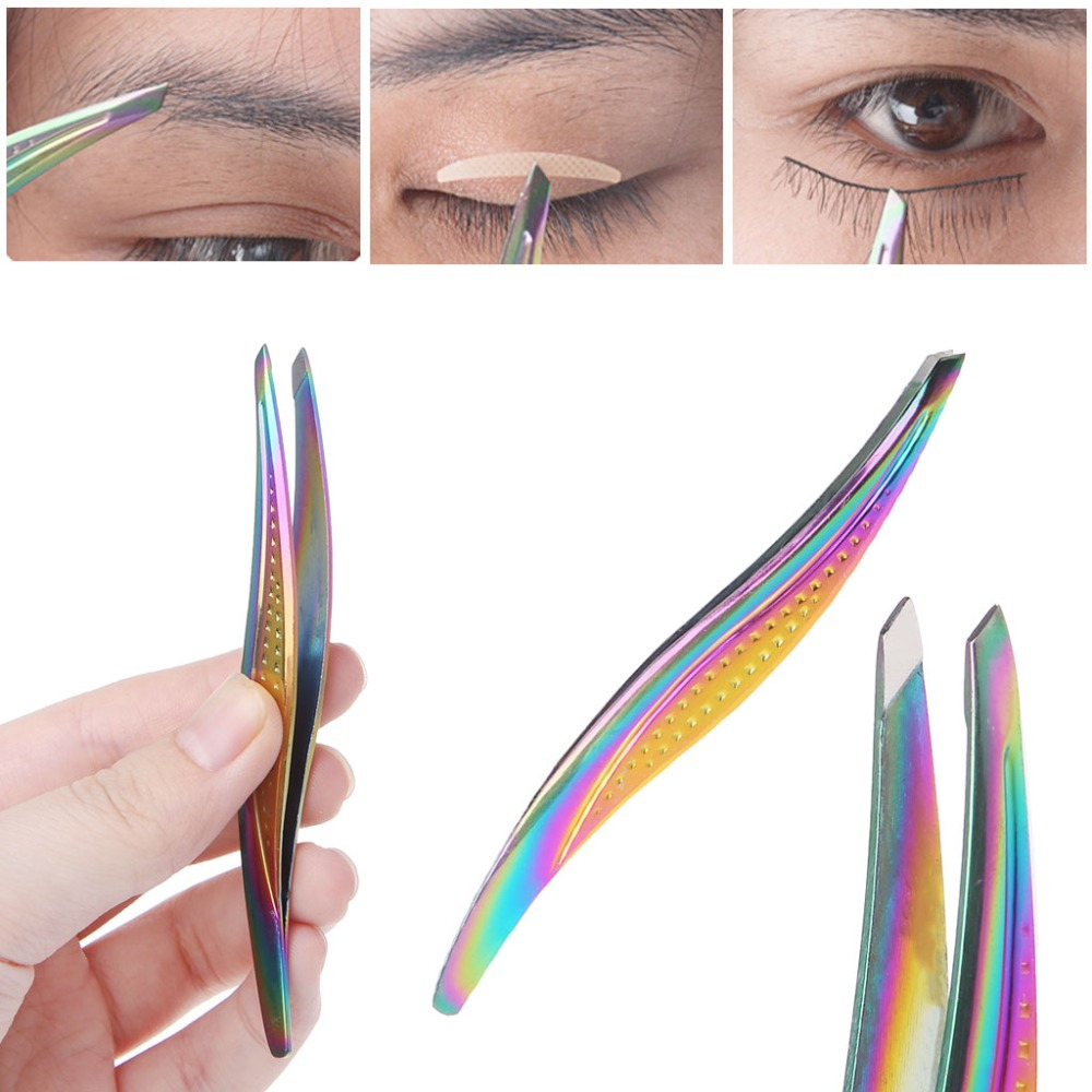 FSHALL Women Eyebrow Tweezers Hair Removal Stainless Steel Slant Tip Beauty Makeup Tool