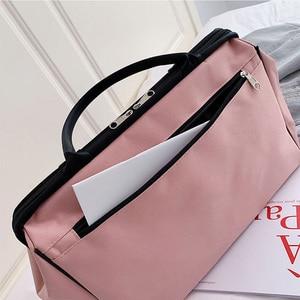 Image 5 - ボルサストライプトラベルバッグフィットネスバッグ荷物ダッフルバッグを旅行する嚢デスポーツハンドバッグ女性のための男性屋外スポーツ tas XA46A