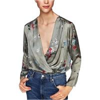 2017 Deep Cross V Neck Floral Printed Woman Bodysuit Long Sleeve Ladies Floral Playsuit Fashion Spring