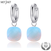 MetJakt Classic Natural Moonstone Drop Earrings Solid 925 Sterling Silver Pendant Earring for Women's Occasions Fine Jewelry