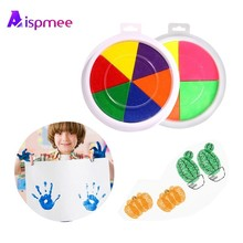 Aispmee Funny 6 Colors DIY Finger Painting Ink Pad Stamp Learn Toy For Kids Learning Education Drawing Toys Non-toxic